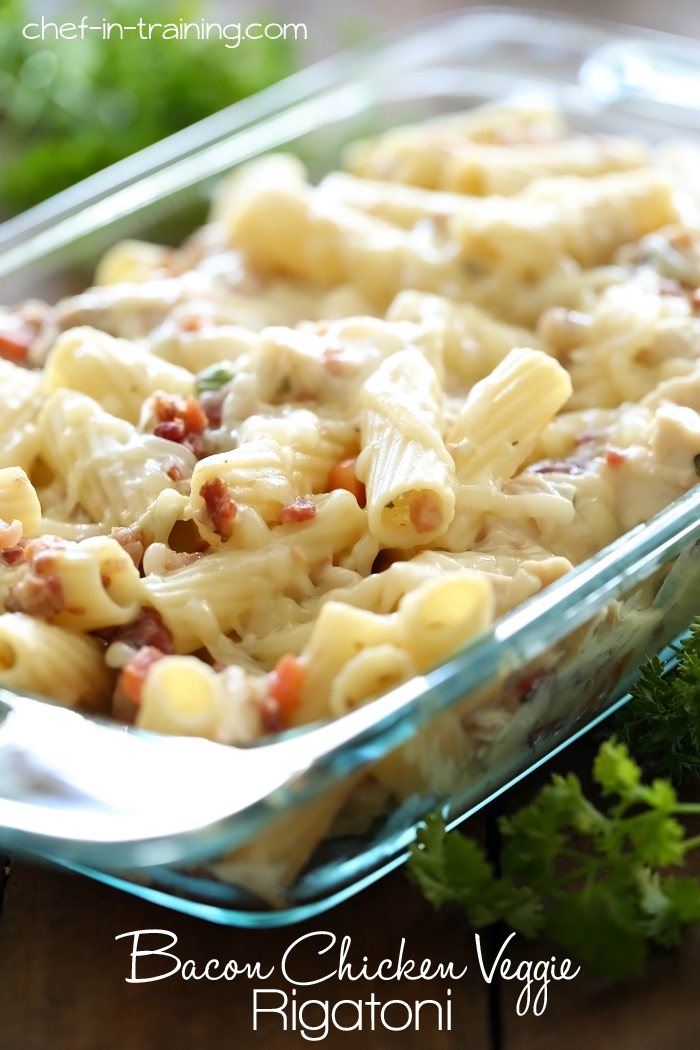 Bacon Chicken Veggie Rigatoni from chef-in-training.com …This dish is simple, delicious and the sauce is a lot lighter than traditional pasta sauces!