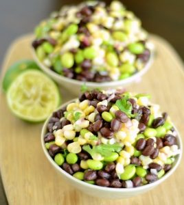 Black Bean, Corn, and Edamame Salad with Cilantro Lime Dressing