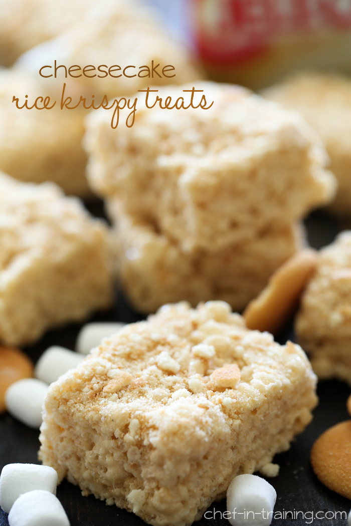 Cheesecake Rice Krispy Treats from chef-in-training.com ...a delicious and exciting new spin on traditional rice crispy treats! The flavor is AMAZING!