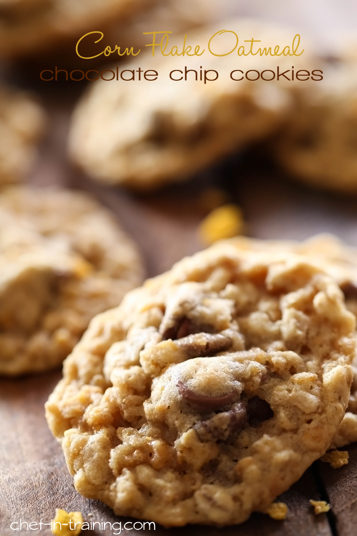Corn Flake Oatmeal Chocolate Chip Cookies from chef-in-training.com ...These cookies are SO good and have such a great texture!