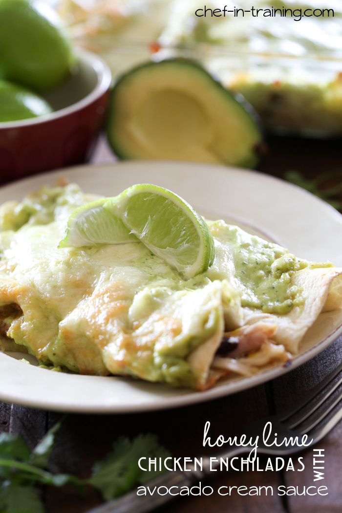 Honey Lime Chicken Enchiladas with Avocado Cream Sauce on chef-in-training.com ...These enchiladas are INSANELY delicious! You need to make this recipe!