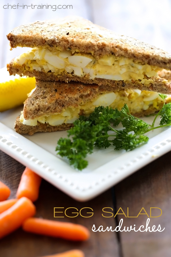 Egg Salad Sandwich Recipe from chef-in-training.com …A great way to use up some hard boiled eggs! Whips up in minutes and is SO delicious!