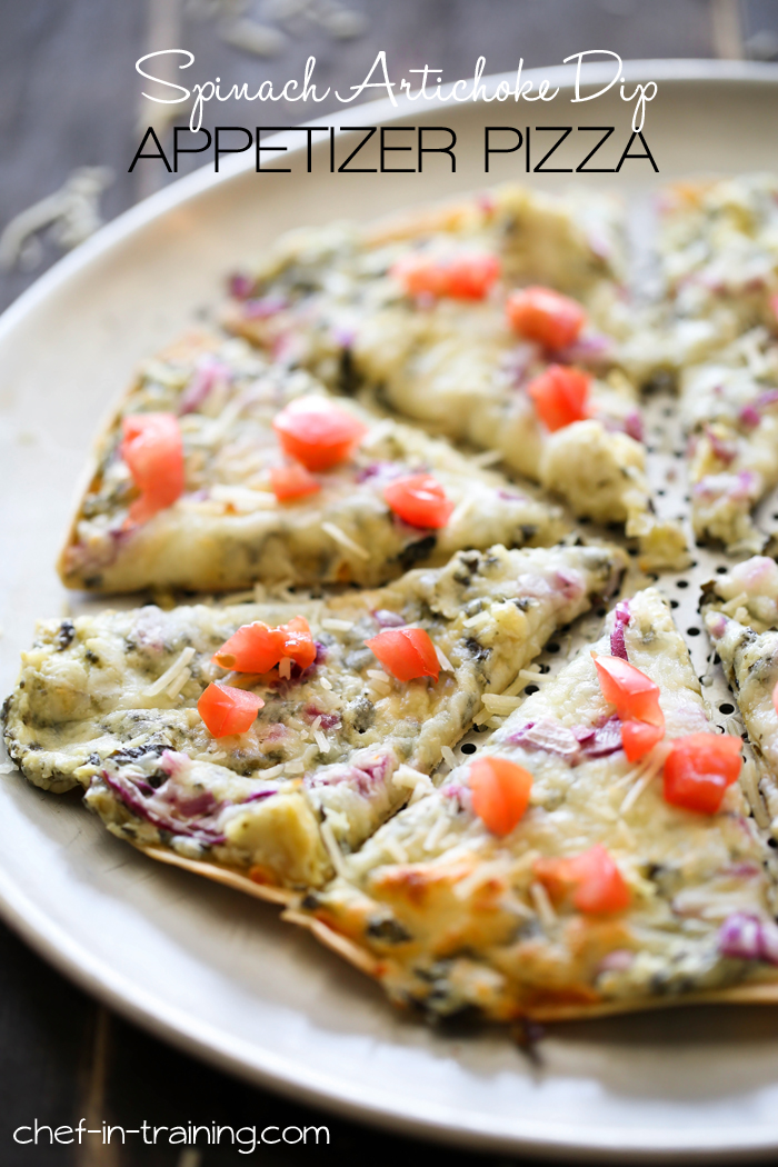Spinach Artichoke Appetizer Pizza from chef-in-training.com …This recipe is SO simple and is one appetizer that everyone wants to get their hands on!