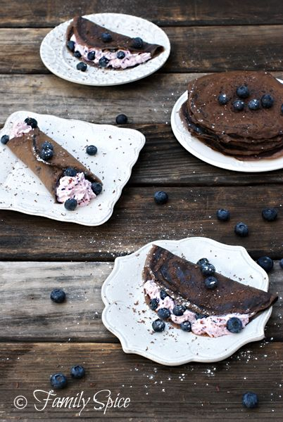 Dark Chocolate Crêpes with Blueberry Cream