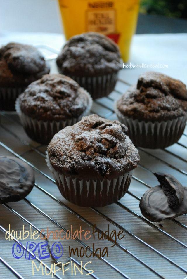Dark Chocolate Fudge Oreo Mocha Muffins