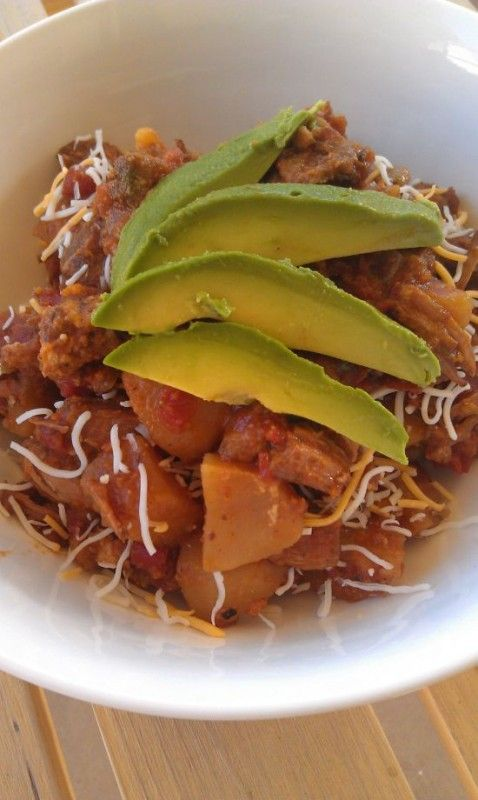 Pork Tinga with Potatoes, Avocado and Cheese