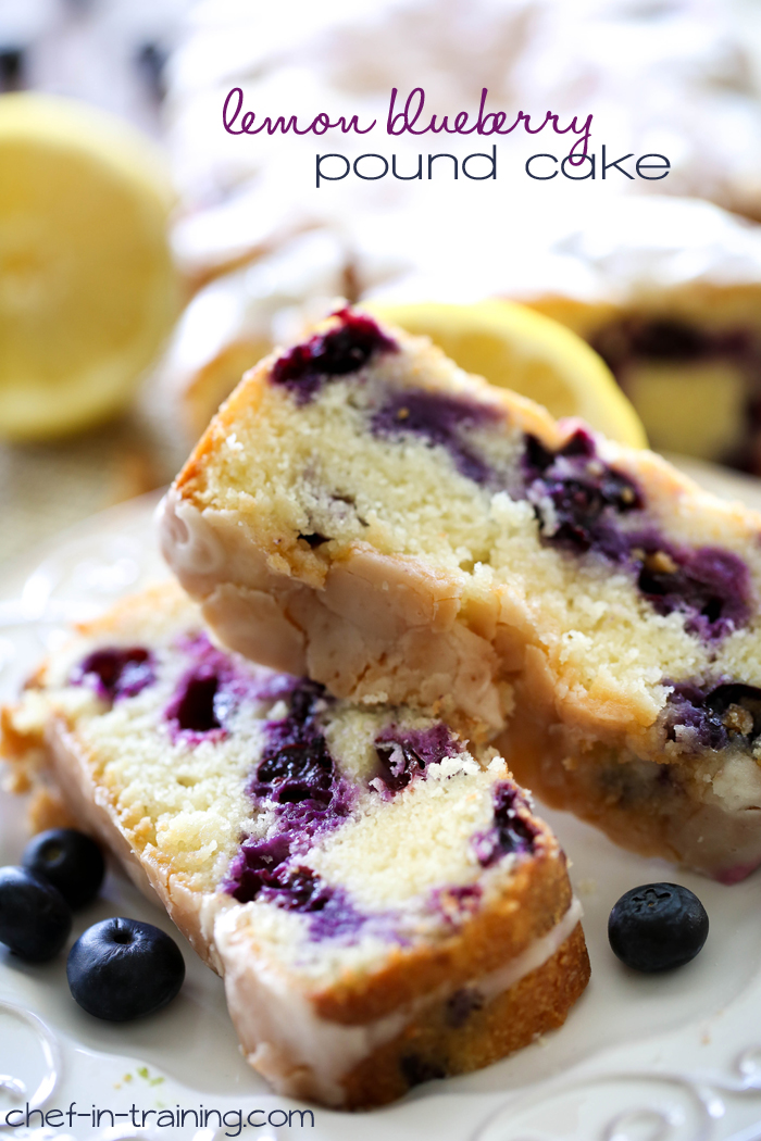 Lemon Blueberry Pound Cake from chef-in-training.com …This recipe is HEAVENLY! Seriously melt-in-your-mouth good!