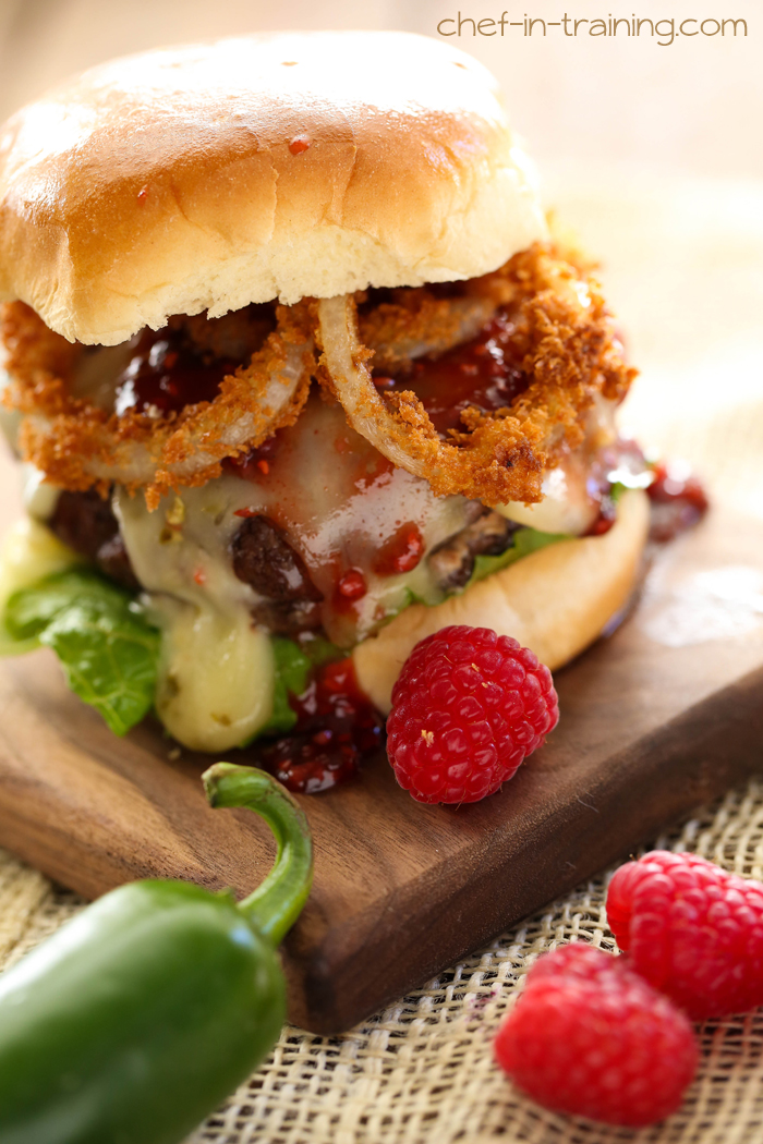 Creamy Jalapeño Stuffed Burgers with Raspberry Chipotle Sauce from chef-in-training.com …This very well could be the best burger you will ever eat!