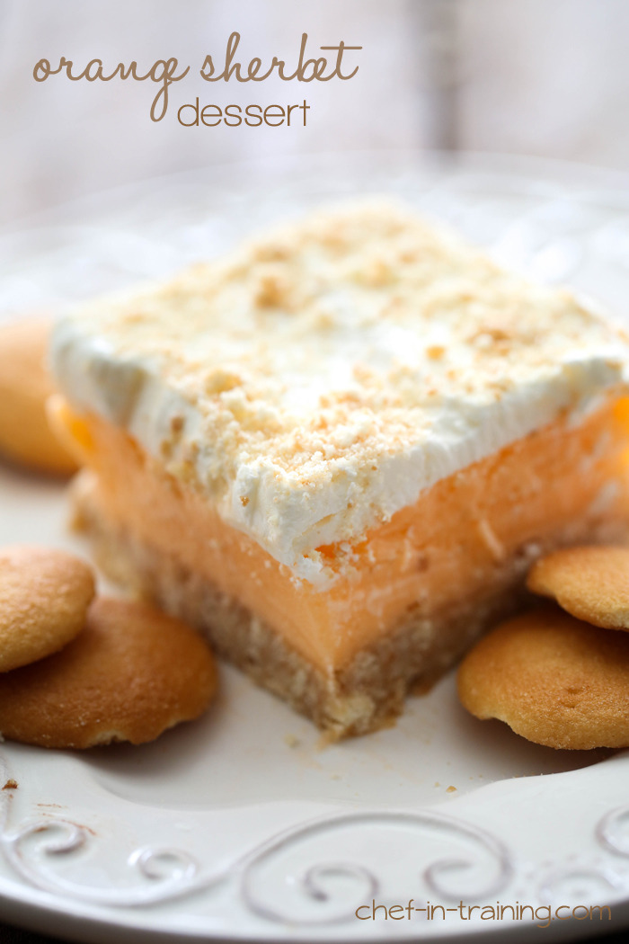 Orange Sherbet Dessert from chef-in-training.com …This dessert is SO easy and so delicious! The perfect refreshing summer dessert!