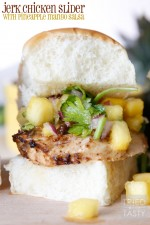 Jerk Chicken Sliders with Pineapple Mango Salsa