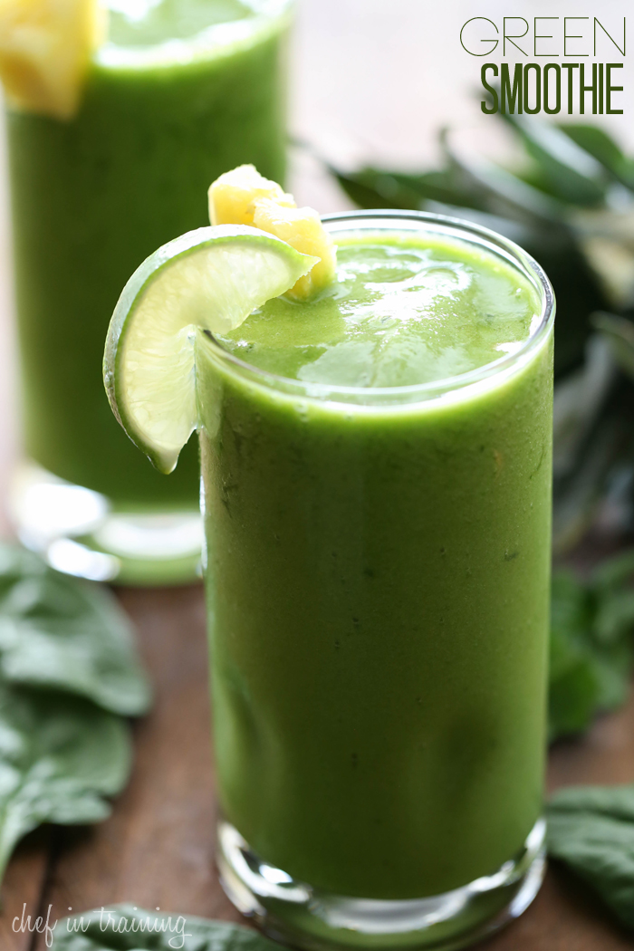 Green Smoothie from chef-in-training.com …This drink is DELICIOUS! It is so healthy and a great way to sneak in some added veggies without the kids knowing!