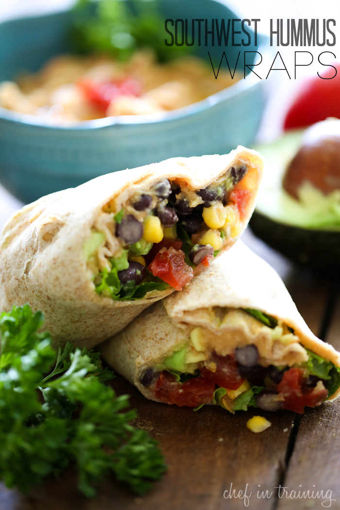 Southwest Hummus Wraps from chef-in-training.com …This is a delicious, filling and easy meal that you don't have to feel guilty about!