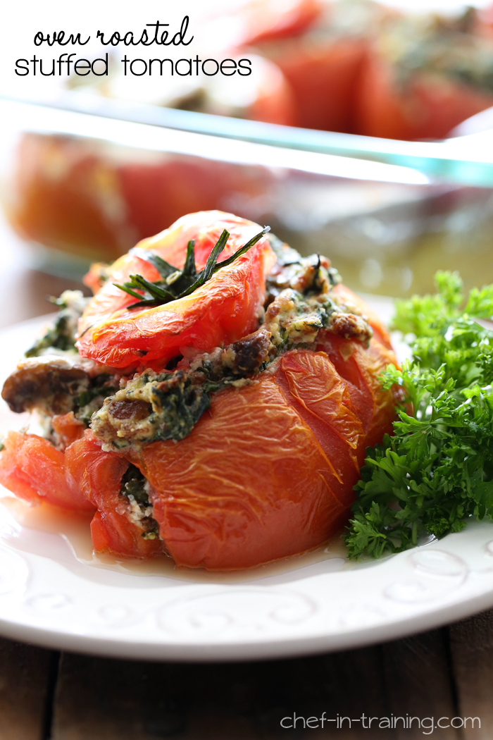 Oven Roasted Stuffed Tomatoes from chef-in-training.com …This is one recipe you HAVE to try! So much flavor packed into a mouth watering recipe!