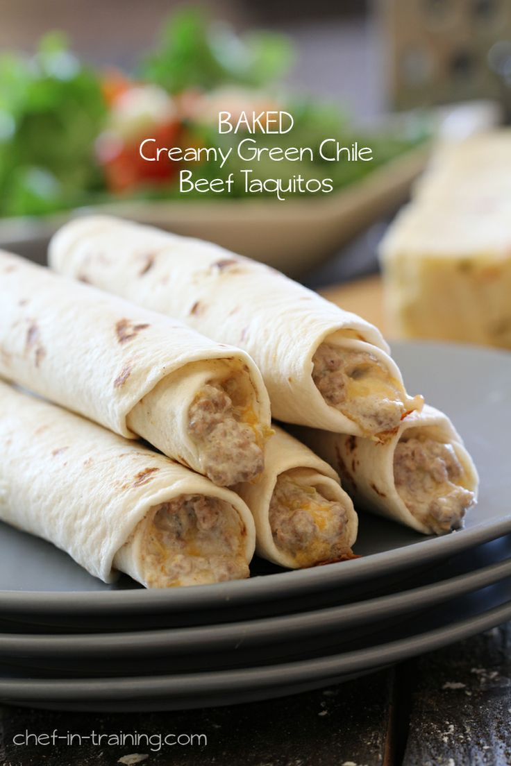 BAKED Creamy Green Chilie Beef Taquitos
