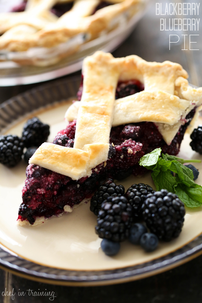 Blackberry Blueberry Pie from chef-in-training.com …This pie is melt-in-your-mouth delicious! Top off this warm pie with some ice cream and it is perfection!