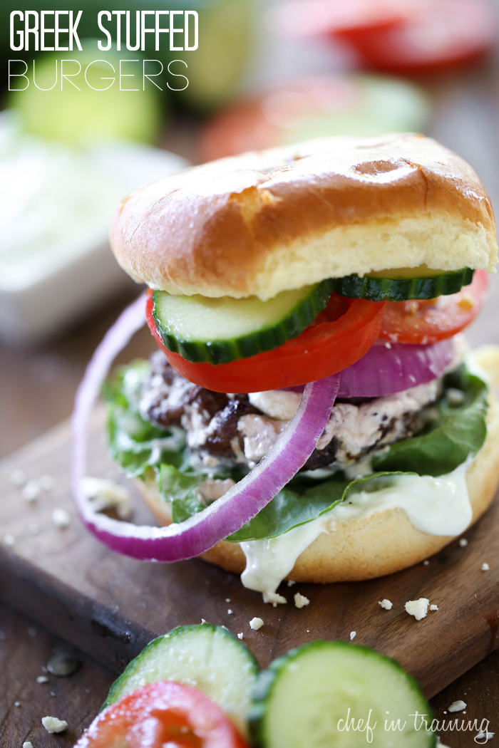 Stuffed Burgers from chef-in-training.com …Greek Salad meets burger ...