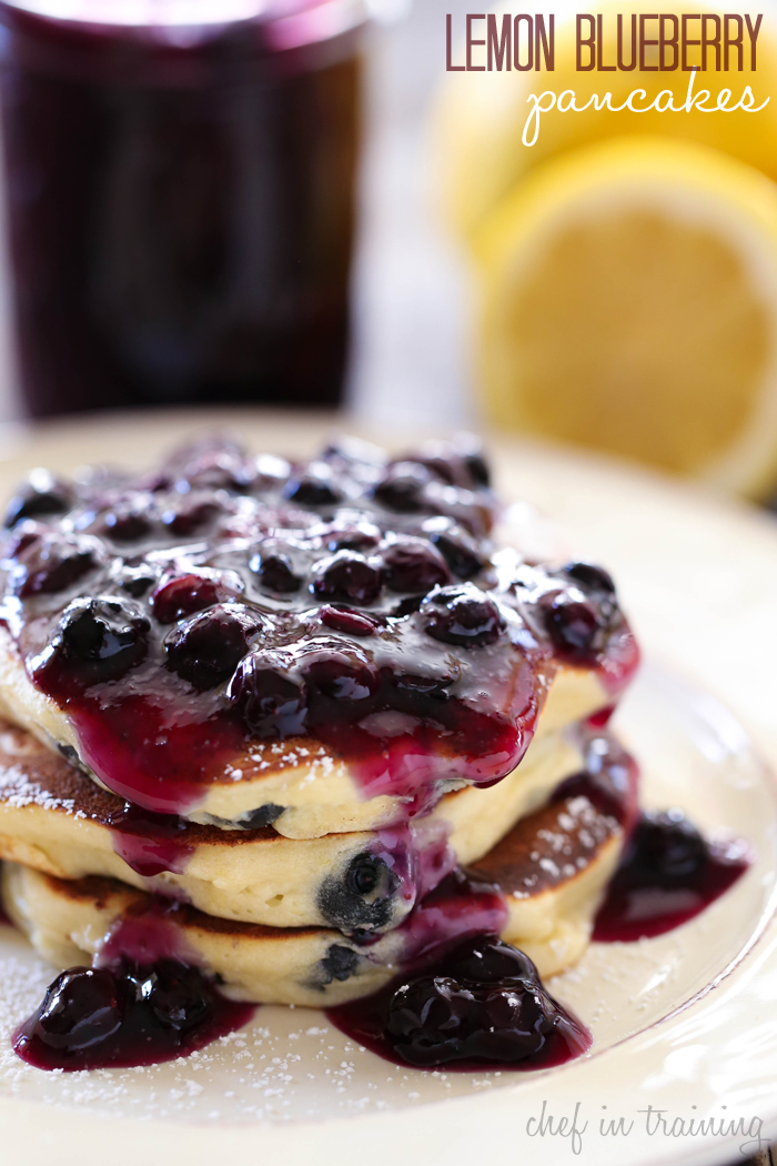 Lemon Blueberry Pancakes from chef-in-training.com …These pancakes are the perfect recipe to wake up to in the morning! The lemon-blueberry combo is fantastic!
