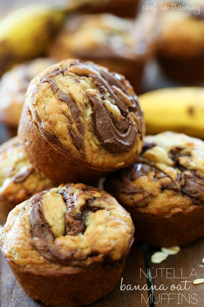 Nutella Banana Oat Muffins from chef-in-training.com …The Nutella-Banana flavor combo is so delicious in these muffins! They make a delicious breakfast or snack!