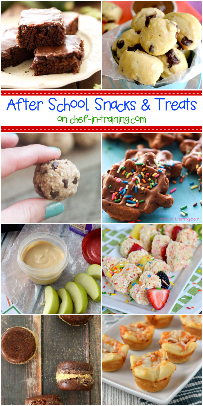 After School Snack Ideas at chef-in-training.com …If you want to surprise your kids with some yummy recipes (or even make just because) this is the round up for you!