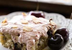 Almond Cherry Sheet Cake from chef-in-training.com …Almond and Cherry are a match made in flavor heaven! This sheet cake is phenomenal!