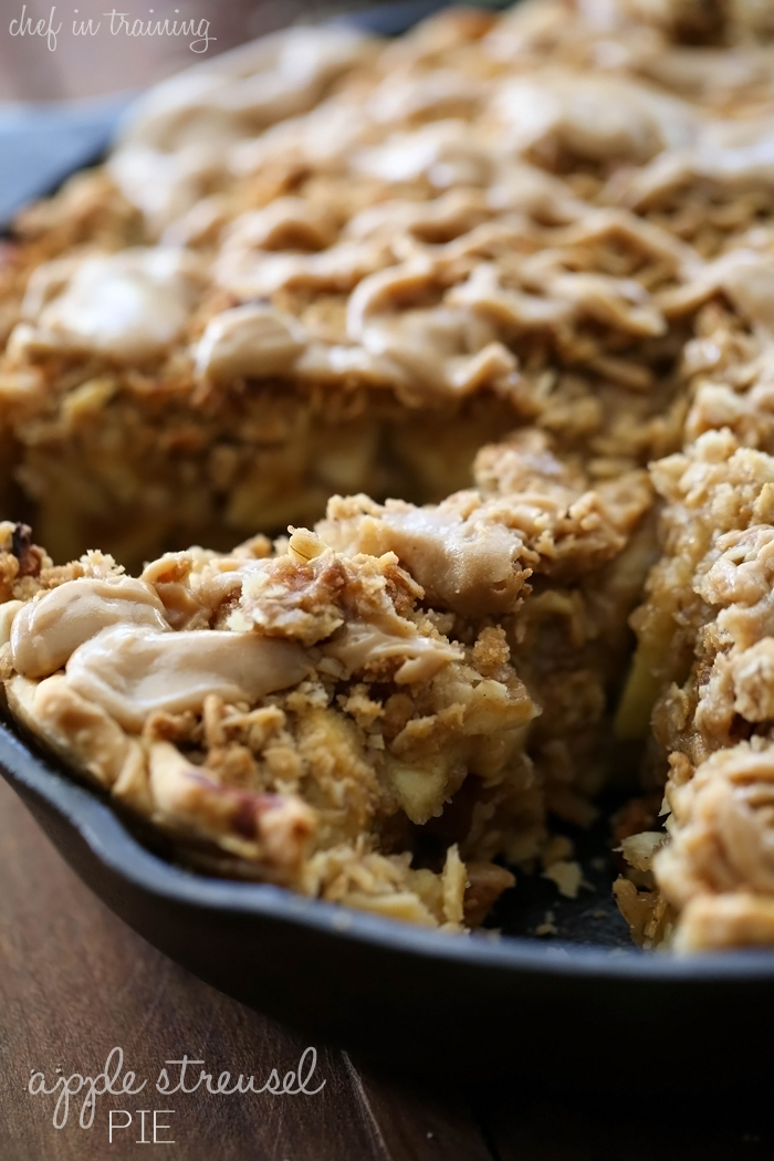 Apple Streusel Pie from chef-in-training.com... This is absolutely AMAZING! You will have a hard time stopping at just one slice! The flavor is amazing and the caramel drizzle is perfection!