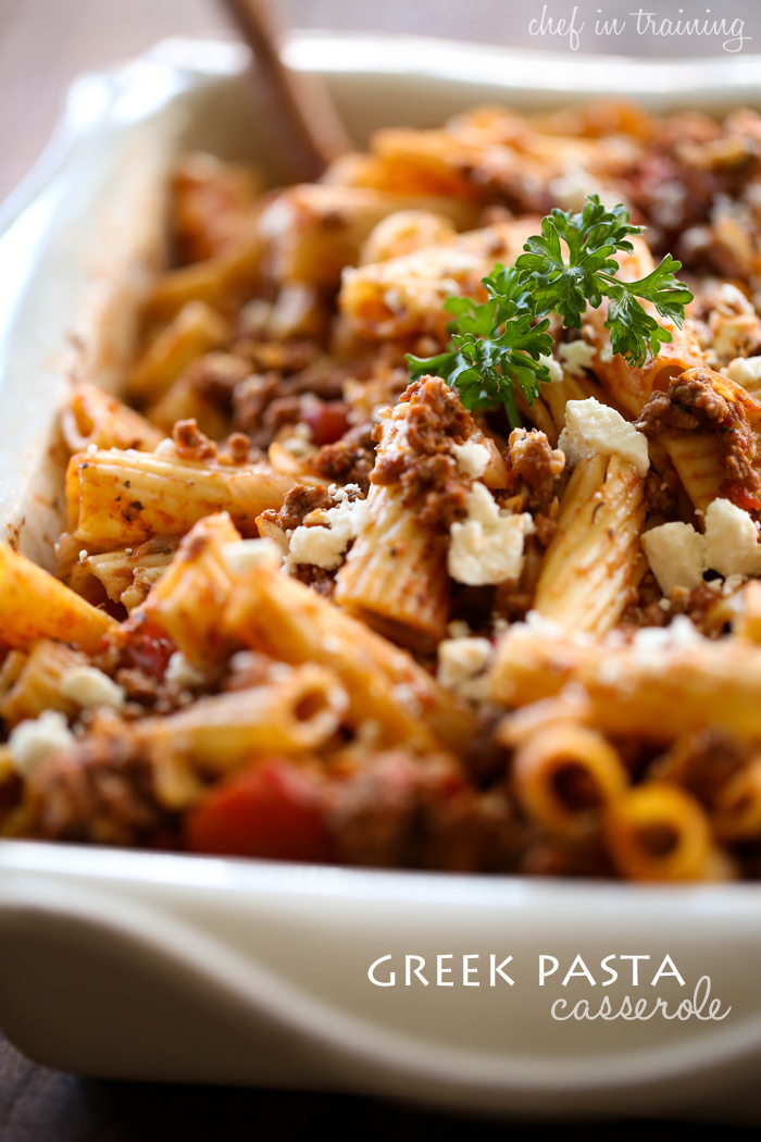 Greek Pasta Casserole from chef-in-training.com ...This meal is easy, quick and delicious! It will quickly become a new family favorite!