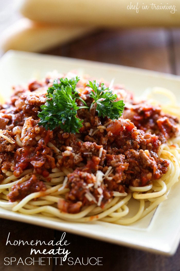 Homemade Meaty Spaghetti Sauce from chef-in-training.com ...This sauce is SO delicious and way better than any jarred version! Plus it is super easy to make!