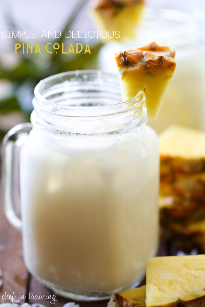 Simple and Delicious Pina Colada from chef-in-training.com ...This drink is fun, refreshing and SO delicious! It is always the hit of the party and always gets rave reviews!