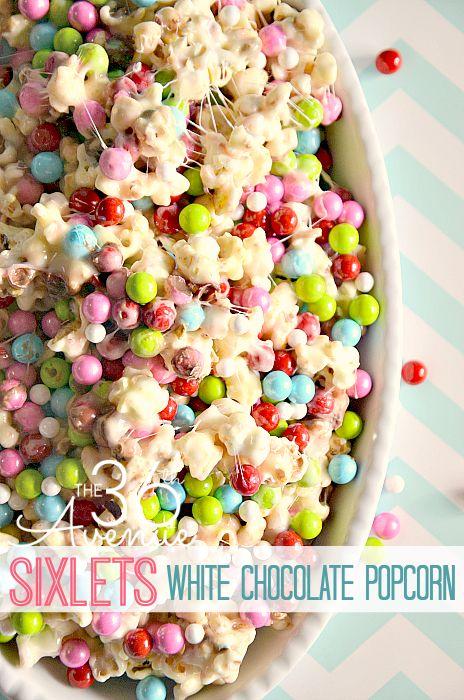 Sixlets White Chocolate Popcorn