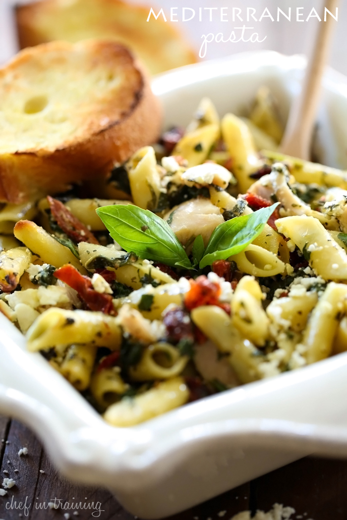 Mediterranean Pasta from chef-in-training.com ...This pasta is light and refreshing! It is bursting with delicious flavor and ingredients!