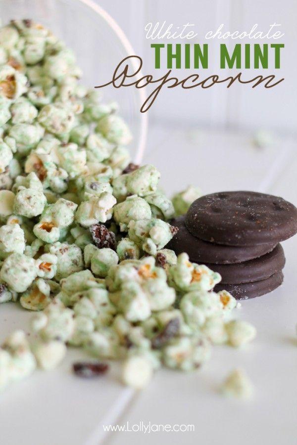 white chocolate thin mint popcorn