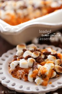 Loaded Sweet Potato Casserole from chef-in-training.com ...This casserole is LOADED with all things amazing.- marshmallows, candied pecans, brown sugar, butter- you name it! It is a huge hit at the dinner table!