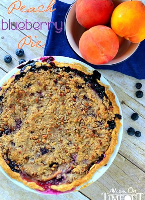 Peach Blueberry Pie with Pecan Streusel Topping from Mom on Timeout