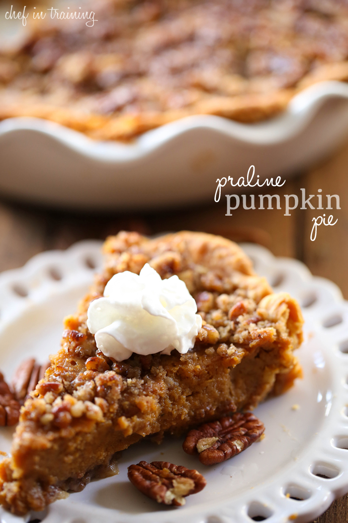 Praline Pumpkin Pie from chef-in-training.com ...This pumpkin pie recipe has two delicious praline layers that add the perfect texture to each and every bite! It is amazing!