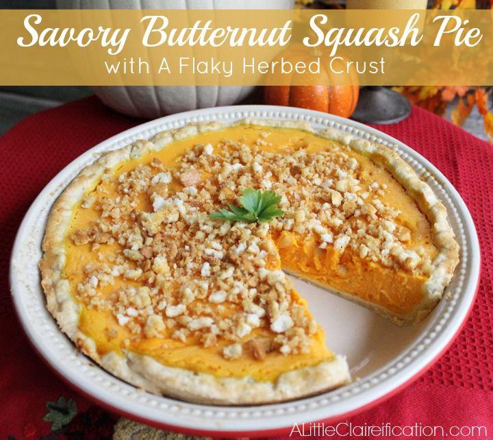 Savory Butternut Squash Pie in An Herbed Crust