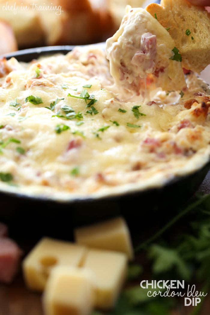 Chicken Cordon Bleu Dip from chef-in-training.com... this is absolutely the BEST dip ever! The flavors are perfection and each bite is cheesy, creamy, hearty and down right amazing!