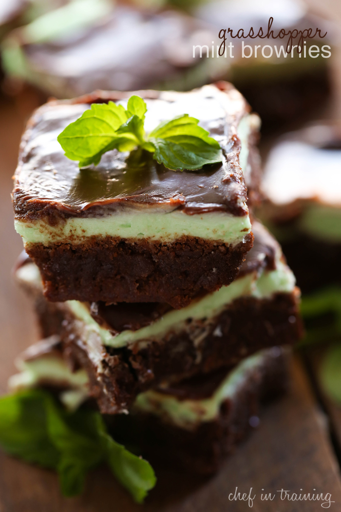 Grasshopper Mint Brownies from chef-in-training.com ...These brownies are fudgy, rich and packed with that chocolate-mint flavor combo perfect for the holidays!
