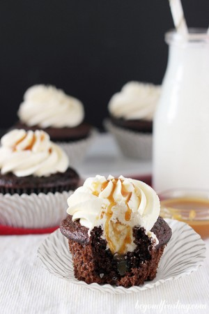 Salted Caramel Hot Chocolate Cupcakes