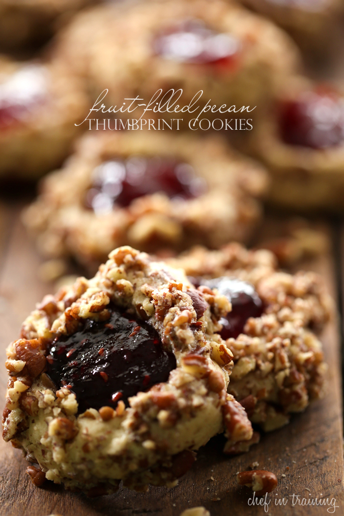 Fruit-Filled Pecan Thumbprint Cookies... these cookies are delicious! Nutty, fruity and sweet- it is a yummy cookie offering a variety of textures and flavors!