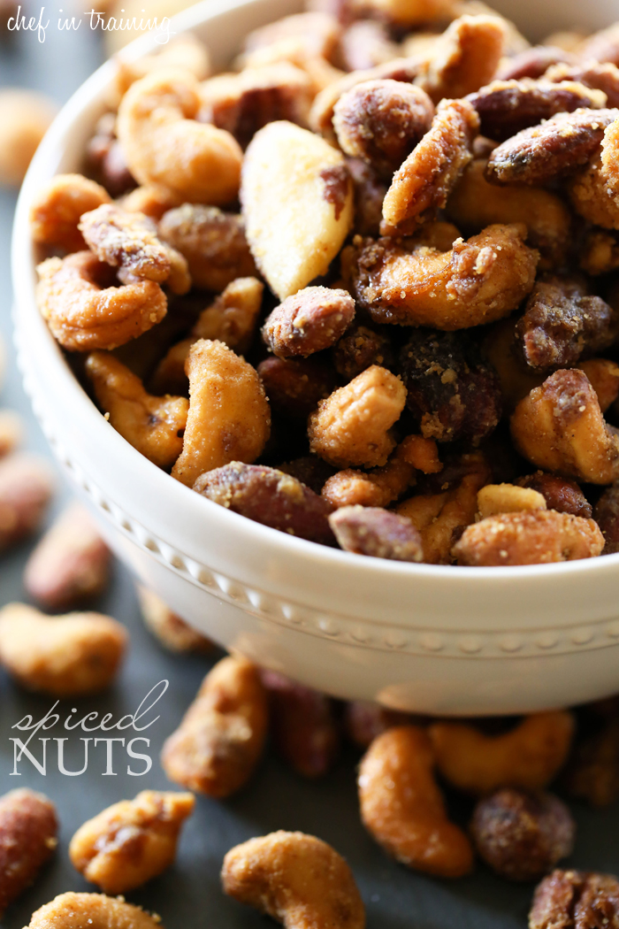 Spiced Nuts from chef-in-training.com ...These nuts are spicy, savory and sweet all in one! They are super easy to a make and packed with a variety of flavors!