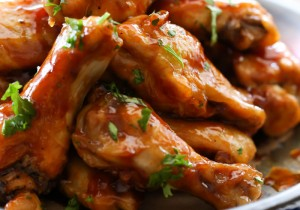 Honey Maple BBQ Wings from chef-in-training.com ...These wings are sticky, saucy and absolutely DELISH!!