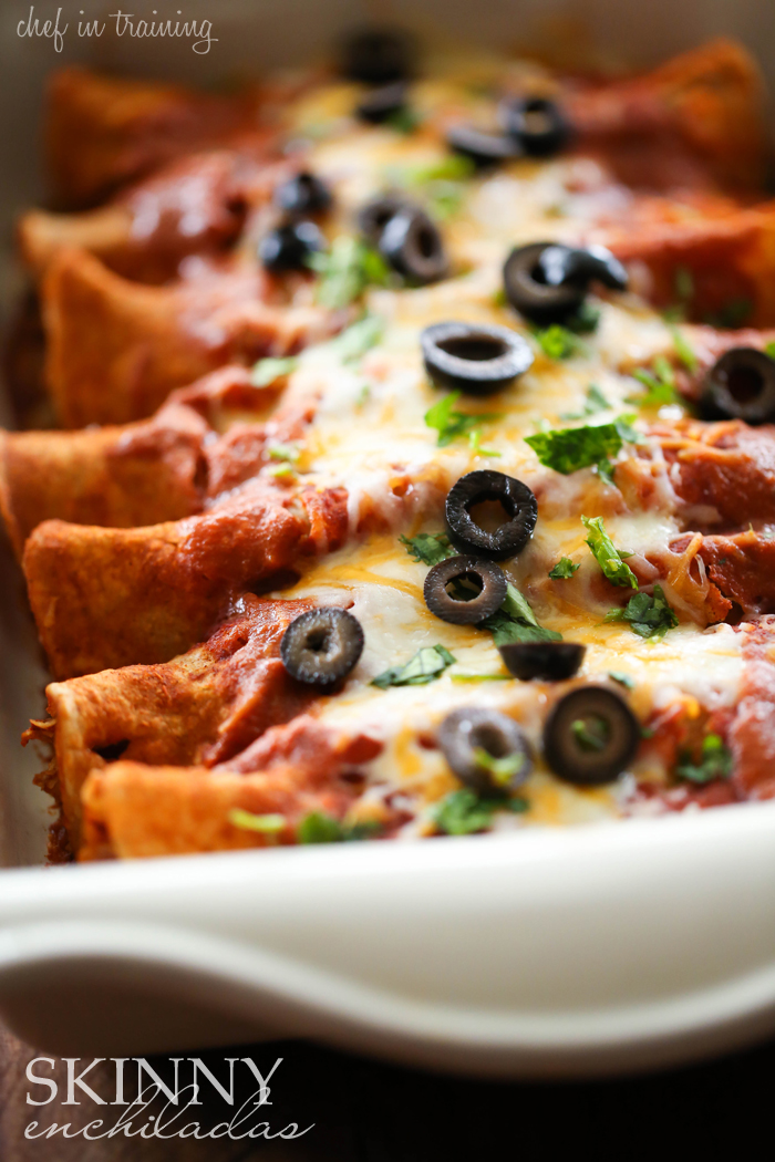 Skinny Enchiladas from chef-in-training.com ....This is one delicious and healthy meal that doesn't compromise on flavor! It is even picky eater approved!