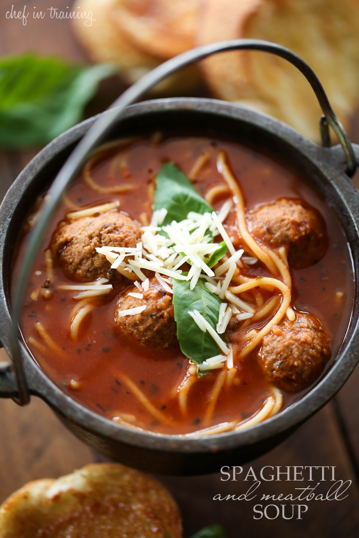Spaghetti and Meatball Soup... This soup is so delicious and perfect ...