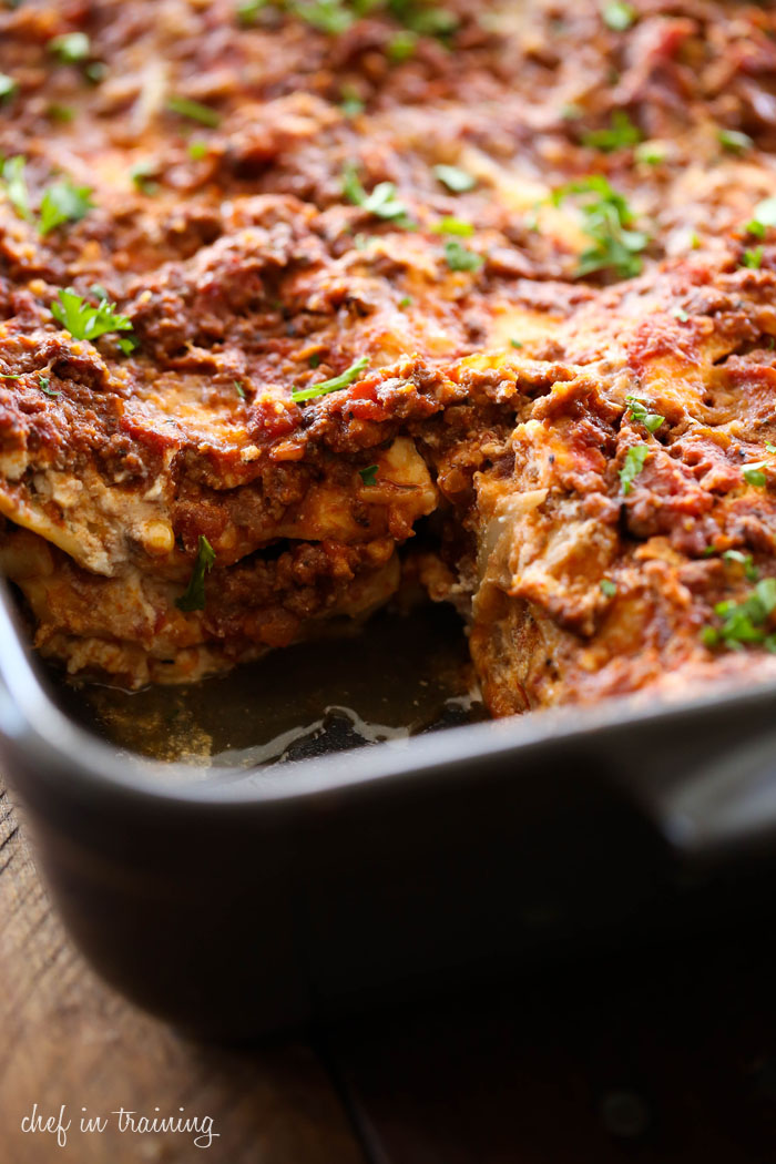 Meaty Three Cheese Lasagna... this is honestly THE BEST lasagna I have ever tried! The flavors are incredible!