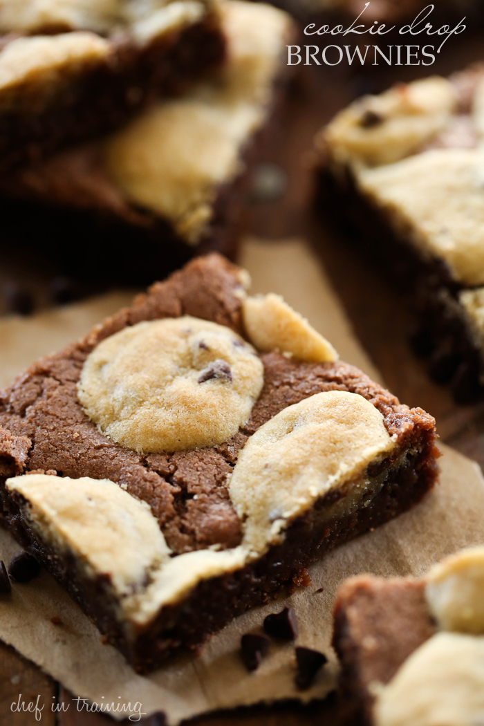 Cookie Drop Brownies... Cookies? Brownies? Why not have both?! These brownies are fudgy and delicious with a pop of cookie in every bite! It is one amazing combo!