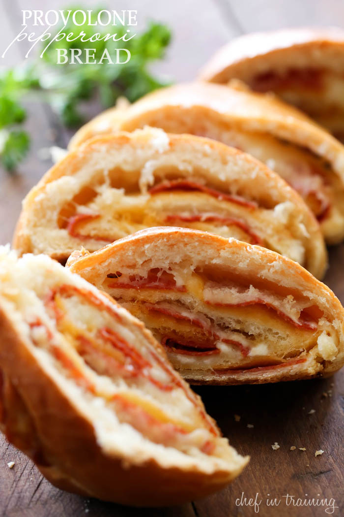 Provolone Pepperoni Bread... This recipe is SO flavorful and wonderful! Cheesy, bready perfection! It is a fantastic side dish!