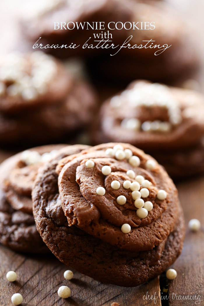 Brownie Cookies with Brownie Batter Frosting... These cookies are rich, chocolaty and absolute heaven! If you love chocolate, these are the perfect cookie for you!