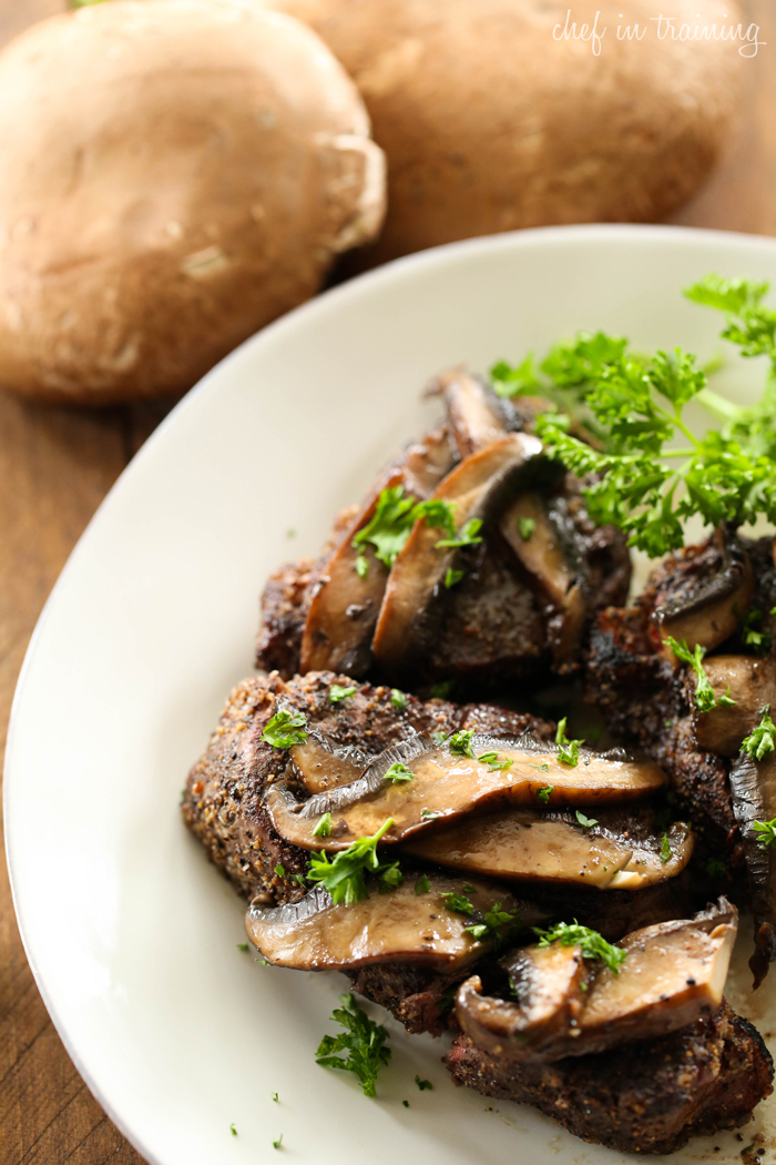 Pepper-Crusted Steak with Glazed Portobello Mushrooms... this steak will be one of THE BEST steaks you ever eat! It tastes like it comes straight from a 5 Star Restaurant!