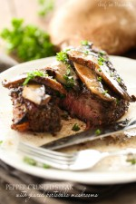 Pepper-Crusted Steak with Glazed Portobello Mushrooms