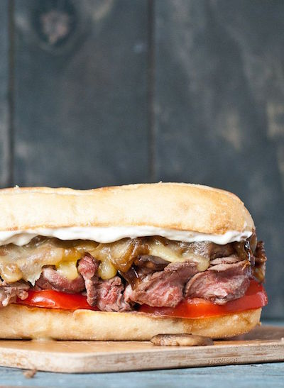 Grilled Flank Steak Sandwiches with Caramelized Onions and Mushrooms
